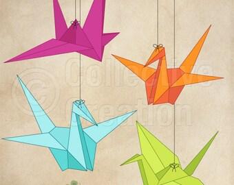 Paper Cranes Digital Clip Art Set 2 - Personal and Commercial Use