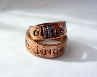 Olive Juice Matching Custom Rings, Fine Silver, Gold Copper Patina, Hand Engraved on Outside, Wedding or Best Friend Rings