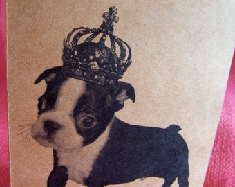 """Boston Terrier Puppy Dog With Crown Set of ANY 3 Greeting Note Cards Invitations Kraft Cardstock matching envelopes 5 x 7"""""""