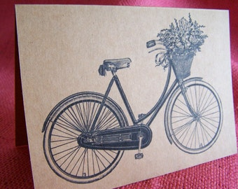 Vintage Bicycle and Basket of Flowers Set of ANY 3 Greeting Note Cards Invitations Kraft Cardstock matching envelopes 5 x 7""