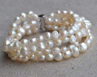 pearl bracelet - 4 Rows 8 inches 6-7mm ivory Freshwater baroque Pearl Bracelet, bridesmaid jewelry, wedding bracelet, real pearl bracelet