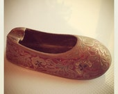 Vintage Brass Ashtray India shoe slipper