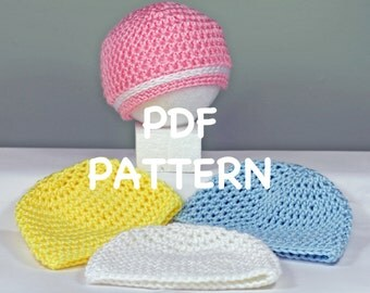 Crochet Baby Hat Pattern - 30 Minute Newborn Baby Hat Pattern - Quick and Easy Newborn Hat Pattern