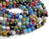 Multicolored Millefiori Flower Beads round ball 8mm full strand DB20630