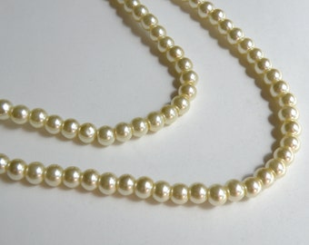 Light Yellow glass pearl beads round 6mm full strand 7749GB