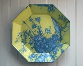 Toile Yellow and Blue Floral Decoupage Plate ES32793-56