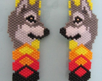 Hand Beaded Grey Wolf dangling earrings in sunshine colors
