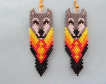 Hand Beaded  Gray Wolf in feather earrings