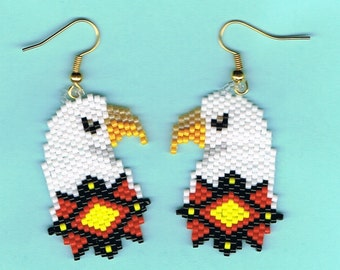 Hand Beaded  Eagle with sunshine colors star earrings