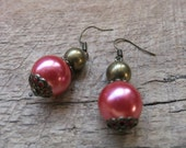 Antiqued Bronze and Pink Pearl earrings B3G1Free