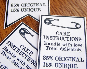 tags, care instruction, handmade item, handmade seller tag - white with black, set of 12