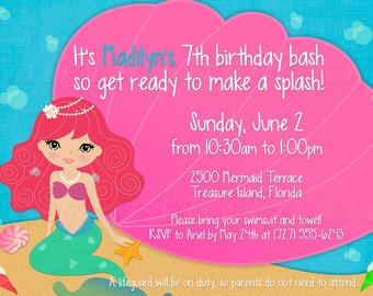 Mermaid Pool Party Birthday Invitation - Your Choice of Mermaid - Digital File, You Print OR I Print