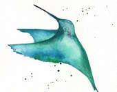 Hummingbird Minimal / Teal, Green, Blue, Emerld Green / Bird Art