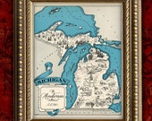 Custom MICHIGAN MAP Art Print Vintage Map Retro Personalized Map Wedding Housewarming Gift Home Decor Wall Decor 8x10 All 50 States Avail.