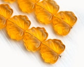 Czech leaf beads, Yellow, Maple leaves, glass - 11x13mm - 10Pc - 578