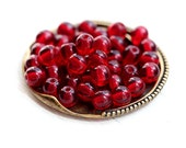 Red Czech glass beads, round spacers, druk - 5mm - 40Pc - 0782