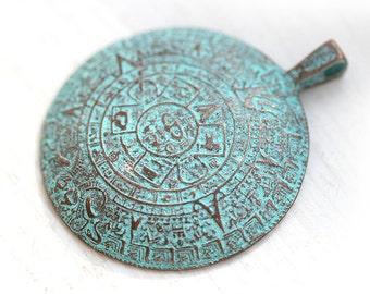 Maya Calendar Pendant bead - Round Large Ancient Symbols pendant - Green patina on copper, Greek Lead Free, 45mm - F180