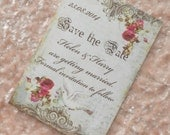 Vintage Save the Date Cards - Dove and Red Roses (Ref 82) Set of 10