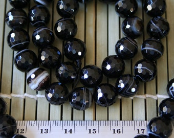 Natural Black Agate 10mm Faceted Round Beads, 16-Inch Strand G01164