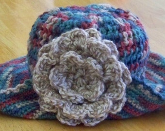 Crocheted Women's Winter Hat with Wide Brim and Large Multi Layered Flower