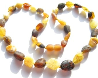 Raw Unpolished Multicolor Baltic Amber Necklace