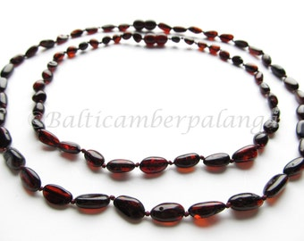 Dark Cherry Baltic Amber Baby Teething Necklace and Mothers Reminding Necklace