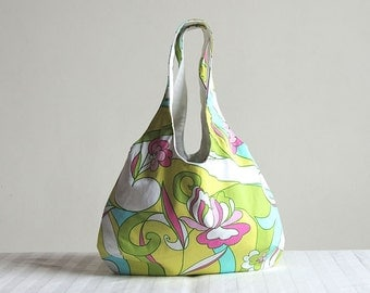 Art Deco Flowers Hobo Tote Bag - Spring Fashion