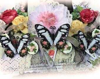 Love Story Glitter Glass Butterflies  Scrapbook Embellishment Tag Card Mini Album Wedding