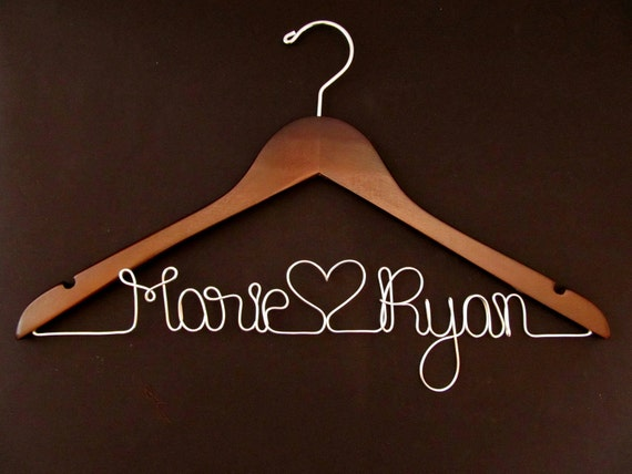 Personalized Wedding Hanger - Bridal Hanger - Custom Wedding Hanger - Wood Hanger - Wedding Hangar - Bridal Shower Gift - Bridesmaid Hanger