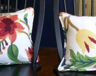 Reversible Coral, Green & Yellow Tropical Pillow Covers - 17 x 13 - Self Corded with Invisible Zipper