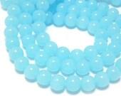 About 40 pcs 8mm Sweet Sky Blue Jade Smooth Round Balls Gemstones Beads g027960