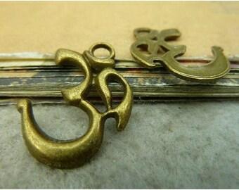 10 pcs 28x23mm Antique Bronze Vintage Brass Yoga Symbols Letters 3D Signs Charms Pendants fc93585