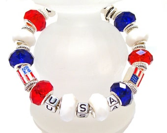 USA Red, White and Blue Freedom Cuff Bracelet - Support USA Olympics