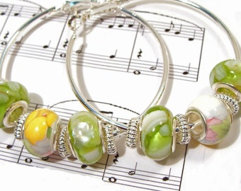 Summertime Yellow and Green Euro-Style Hoop Earrings