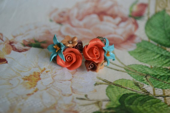 Handmade Polymer Clay Flower Post Earrings