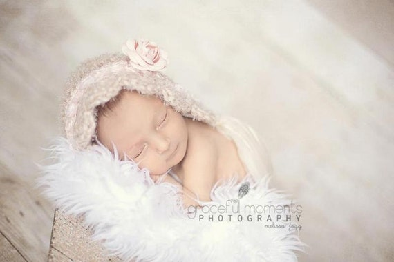 Newborn Hat, Baby Bonnet, Photo Prop, Beige, Tan, Newborn Bonnet, Beige Bonnet