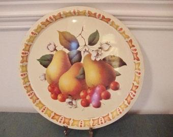 Vintage Round Metal Tray with Fruit, England, Elite Trays