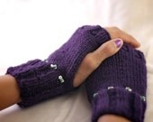 Purple Fingerless 100% Wool Mittens with Turquoise and Shell