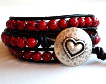 Triple Wrap Red Leather Wrap Bracelet