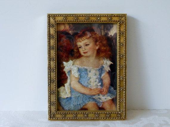 Vintage Framed Print of Little Girl / Beaded Gold Frame
