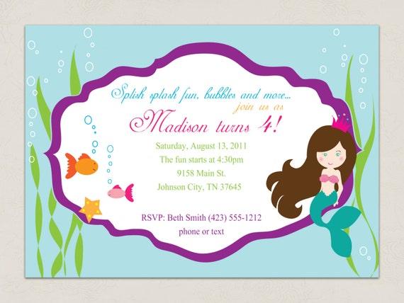 Free printable mermaid birthday invitation orderecigsjuicefo items similar to printable invitation mermaid party collection invitation templates filmwisefo Gallery