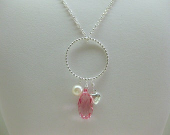 Pink Crystal Three Charm Necklace - FREE SHIPPING