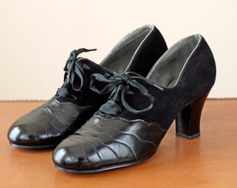 1940s Shoes Deadstock / 40s Leather and Suede Oxfords // The Tempest Heels