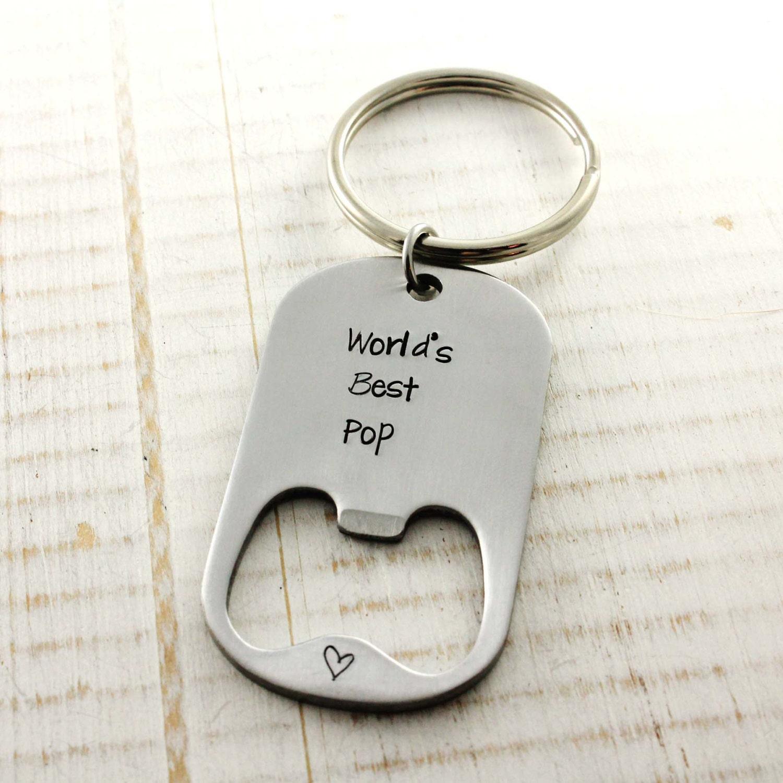 hand stamped custom bottle opener keychain dad grandfather. Black Bedroom Furniture Sets. Home Design Ideas