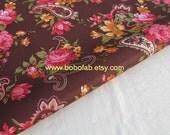 "3190B - 1 yard Vinyl Waterproof Fabric - Paisley and flower on Chocolate - 57""x39"""