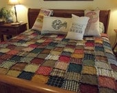 Queen Patchwork Rag Quilt-  Handmade Rustic Country Primitive Western Rag Quilts