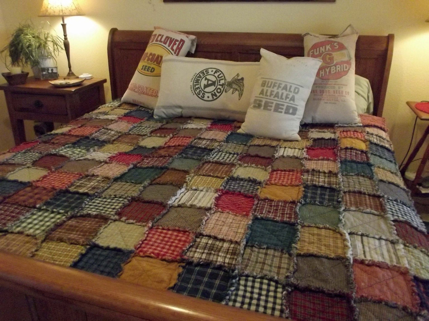Crib size quilts for sale - Queen Size Patchwork Rag Quilt Made To Order Rustic Reversible Homemade Quilt Farmhouse Country Quilt Primitive Quilt Queen Quilt