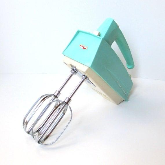 Vintage Hand Mixer, Retro Turquoise Kitchen, Kenmore Electric Mixer