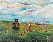 """Canvas Print, Spring Jubilee 18x24"""", spring art, forest friends, woodland nursery, dancing animals, forest"""