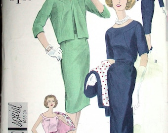 """Vogue Special Design Dress Pattern No 4995 UNCUT VIntage 1950s SIze 18 Bust 38"""" Sleeveless or Elbow Length Sleeves Short Box Jacket"""